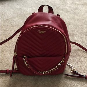 Victoria's Secret small red backpack w chain strap